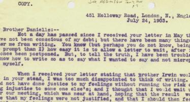 E.J. Waggoner către A.G. Daniells – 24 iulie 1903